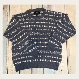 Lake Harmony Vintage Blue Grey Crew Neck Sweater L